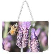 Bee On Lavender Square Weekender Tote Bag
