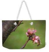 Bee On Peach Bloom Weekender Tote Bag