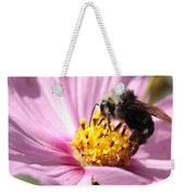 Bee On Pink Cosmos Weekender Tote Bag