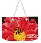 Bee On Red Dahlia Weekender Tote Bag