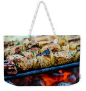 Beef Kababs On The Grill Closeup Weekender Tote Bag