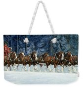 Clydesdales 8 Hitch On A Snowy Day Weekender Tote Bag