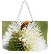 Beetle On White Spiky Wild Flower Weekender Tote Bag