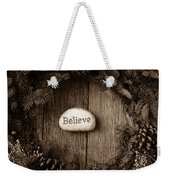 Believe In Text In The Center Of A Christmas Wreath Weekender Tote Bag