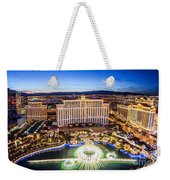 Bellagio Rountains From Eiffel Tower At Dusk Weekender Tote Bag