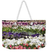 Bench Between The Tulips At Dallas Arboretum  Weekender Tote Bag