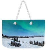 Bench Looking On Lake Laberge With Northern Lights Weekender Tote Bag