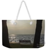 Bench On A Foggy Lake Front Weekender Tote Bag