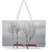 Bench On Lakefront In Winter Weekender Tote Bag