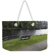 Bench On Shore Of River Ness In Inverness Weekender Tote Bag