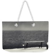 Bench On The Winter Shore Weekender Tote Bag