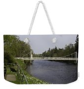 Benches And Suspension Bridge Over River Ness Weekender Tote Bag