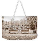 Benches By The Cemetery In Sepia Weekender Tote Bag