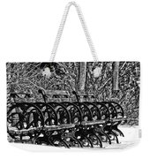 Benches In The Snow - Bw Weekender Tote Bag