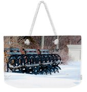 Benches In The Snow Weekender Tote Bag