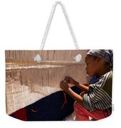 Berber Girl Working On Traditional Berber Rug Ait Benhaddou Southern Morocco Weekender Tote Bag