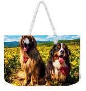 Bernese Mountain Dog And Leonberger Among Wildflowers Weekender Tote Bag