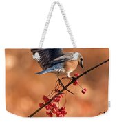 Berry Picking Bluebird Weekender Tote Bag