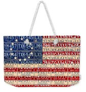 Betsy Ross American Flag Michigan License Plate Recycled Art On Red Board Weekender Tote Bag
