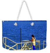 Between Sky And Sea Lachine Canal Viewing Pier Picturesque Water Scenes Montreal Art Carole Spandau Weekender Tote Bag
