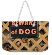 Beware Of Dog Weekender Tote Bag by John Dauer