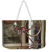Bicycle Attached To Wall Outside Of Fast Food Restaurant Weekender Tote Bag