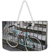 Bicycle Is Chained To A Fence Weekender Tote Bag