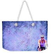 Bicycle Rider On Blue Background Weekender Tote Bag