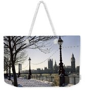 Big Ben Westminster Abbey And Houses Of Parliament In The Snow Weekender Tote Bag