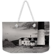 Big Sable Point Lighthouse In Black And White Weekender Tote Bag