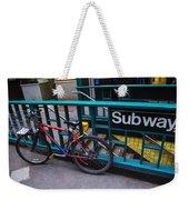 Bike At Subway Entrance Weekender Tote Bag