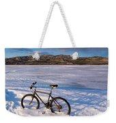 Bike On Frozen Lake Laberge Yukon Canada Weekender Tote Bag