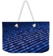 Binary Code On Pixellated Screen Weekender Tote Bag by Johan Swanepoel