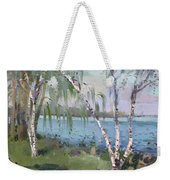 Birch Trees By The River Weekender Tote Bag