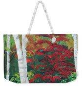 Birch Trees In Red Weekender Tote Bag