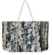 Birches In The Winter Weekender Tote Bag