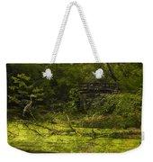 Bird By Bridge In Forest Merged Image Weekender Tote Bag