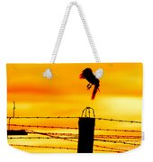 Bird Flying Off From Prison Fence Weekender Tote Bag