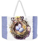 Bird Nest With Daisies Eggs And Butterfly Weekender Tote Bag