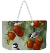 Bird Painting - Apple Harvest Chickadees Weekender Tote Bag