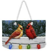 Bird Painting - Christmas Cardinals Weekender Tote Bag by Crista Forest