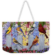 Bird Painting - Spring Garden Party Weekender Tote Bag by Crista Forest
