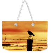 Bird Sitting On Prison Fence Weekender Tote Bag