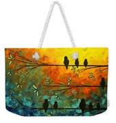 Birds Of A Feather Original Whimsical Painting Weekender Tote Bag by Megan Duncanson