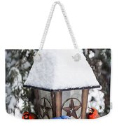 Birds On Bird Feeder In Winter Weekender Tote Bag