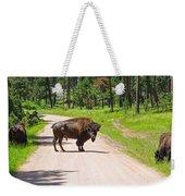 Bison Blocking The Road Weekender Tote Bag