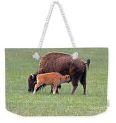 Bison Calf Having Breakfast In  Yellowstone National Park Weekender Tote Bag
