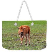 Bison Calf In The Flowers Yellowstone National Park Weekender Tote Bag