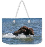 Bison Calf Running After Mama In Yellowstone National Park Weekender Tote Bag