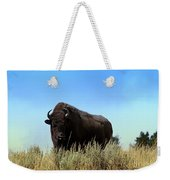 Bison Cow On An Overlook In Yellowstone National Park Weekender Tote Bag